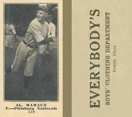 1916 Everybody Al. Mamaux #110 Baseball Card