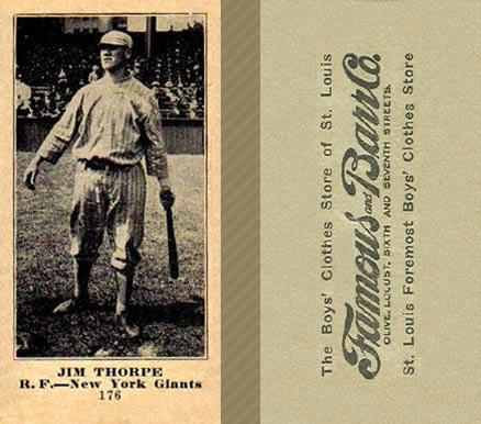Jim Thorpe 1922 Zeenut Reprint Baseball Card With Coupon