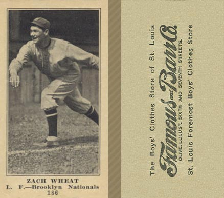 1916 Famous & Barr Zach Wheat #186 Baseball Card