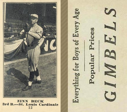 1916 Gimbels (M101-4) Zinn Beck #12 Baseball Card