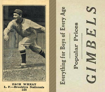 1916 Gimbels (M101-4) Zach Wheat #188 Baseball Card