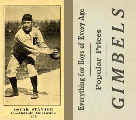 1916 Gimbels (M101-4) Oscar Stanage #168A (Catching) Baseball Card