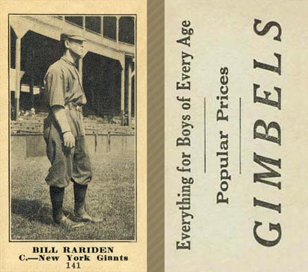 1916 Gimbels (M101-5) Bill Rariden #141 Baseball Card