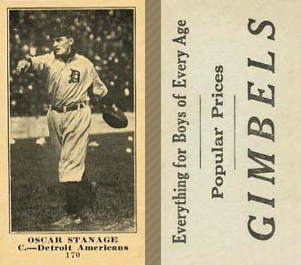 1916 Gimbels (M101-5) Oscar Stanage #170 Baseball Card