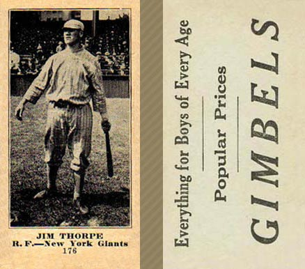 1916 Gimbels (M101-5) Jim Thorpe #176 Baseball Card