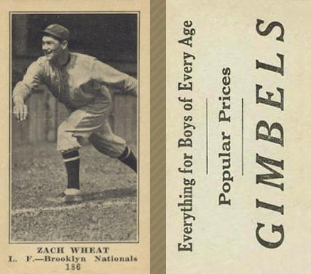 1916 Gimbels (M101-5) Zach Wheat #186 Baseball Card