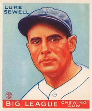 1933 Goudey Luke Sewell #163 Baseball Card
