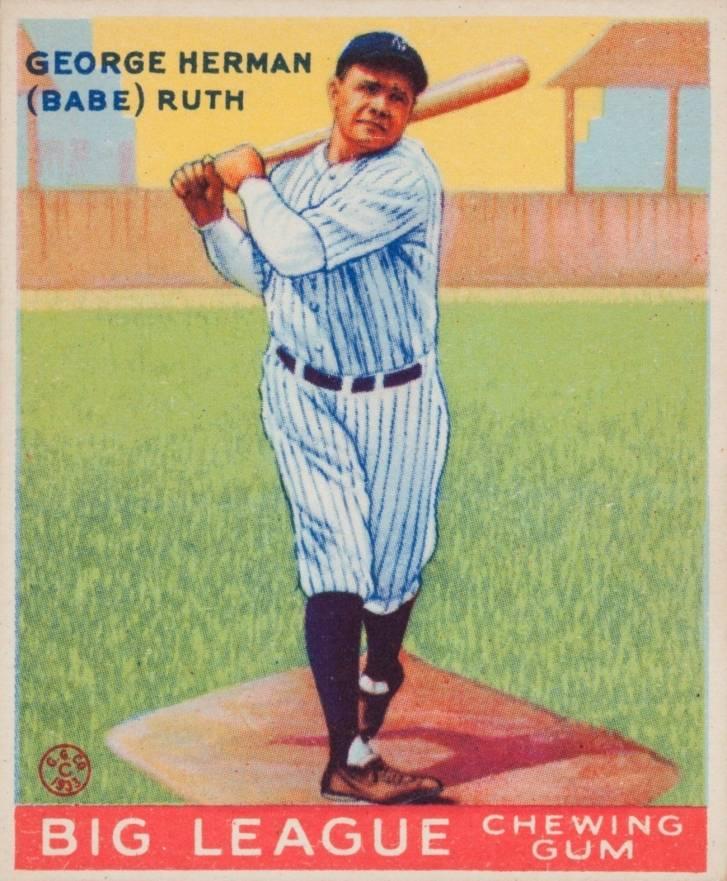 1933 Goudey George Herman Babe Ruth 144 Baseball Vcp
