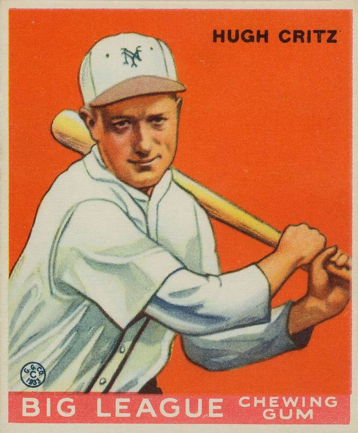 1933 Goudey Hugh Critz #3 Baseball Card