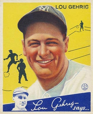 1934 Goudey World Wide Gum  Lou Gehrig #92 Baseball Card