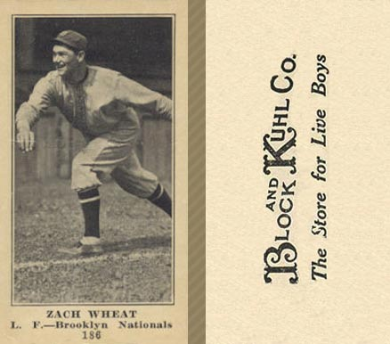 1916 Block & Kuhl (1916) Zach Wheat #186 Baseball Card