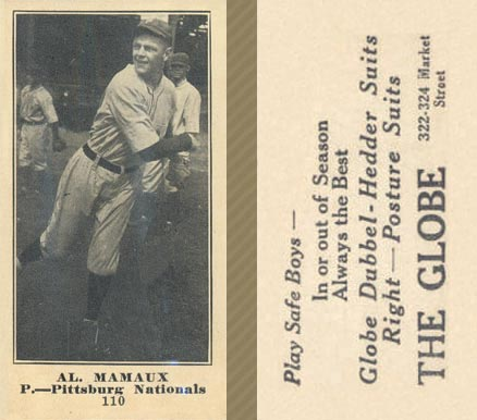 1916 Globe Clothing Store Al. Mamaux #110 Baseball Card