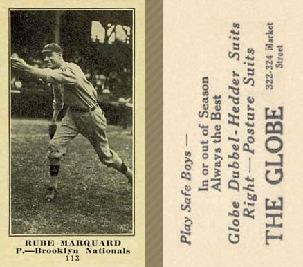 1916 Globe Clothing Store Rube Marquard #113 Baseball Card