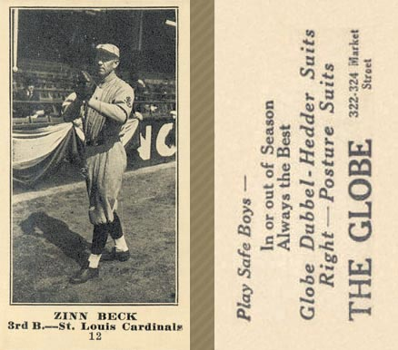 1916 Globe Clothing Store Zinn Beck #12 Baseball Card