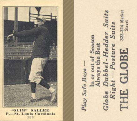 1916 Globe Clothing Store Slim Sallee #153 Baseball Card