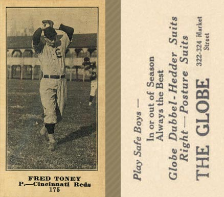 1916 Globe Clothing Store Fred Toney #175 Baseball Card