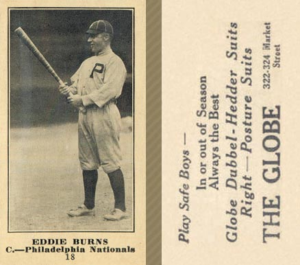 1916 Globe Clothing Store Eddie Burns #18 Baseball Card