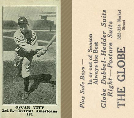 1916 Globe Clothing Store Oscar Vitt #181 Baseball Card