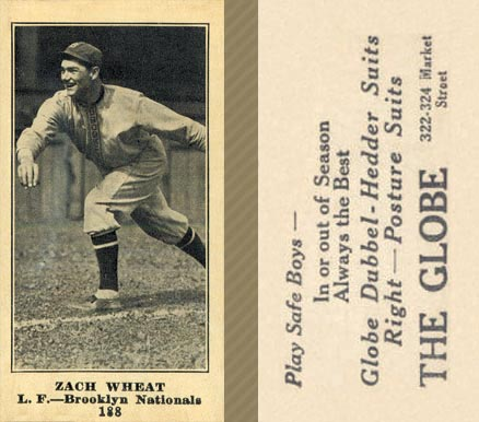 1916 Globe Clothing Store Zach Wheat #188 Baseball Card