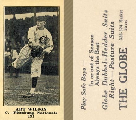 1916 Globe Clothing Store Art Wilson #191 Baseball Card
