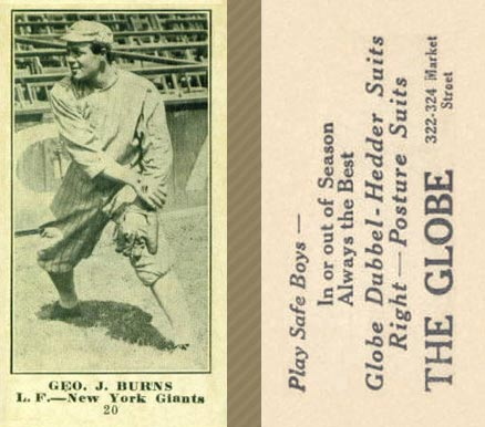 1916 Globe Clothing Store Geo. J. Burns #20 Baseball Card