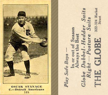 1916 Globe Clothing Store Oscar Stanage #168A (Catching) Baseball Card