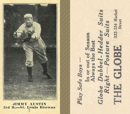 1916 Globe Clothing Store Jimmy Austin #7 Baseball Card