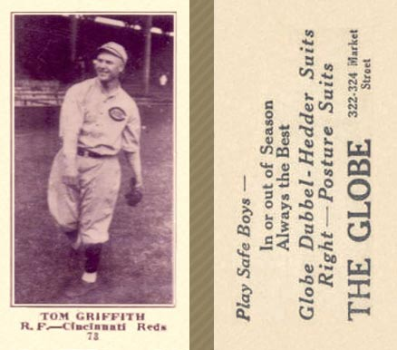 1916 Globe Clothing Store Tom Griffith #73 Baseball Card