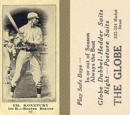 1916 Globe Clothing Store Ed. Konetchy #96 Baseball Card
