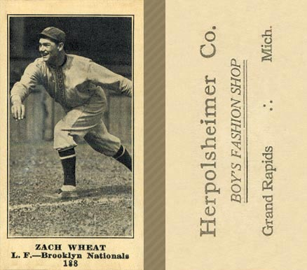 1916 Herpolsheimer's (M101-4) Zach Wheat #188 Baseball Card