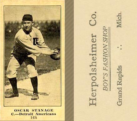 1916 Herpolsheimer's (M101-4) Oscar Stanage #168A (Catching) Baseball Card