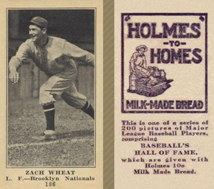 1916 Holmes for Homes Bread Zach Wheat #186 Baseball Card
