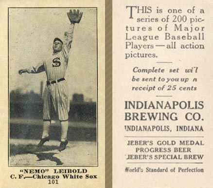 1916 Indianapolis Brewing Nemo Leibold #101 Baseball Card