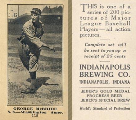 1916 Indianapolis Brewing George McBride #115 Baseball Card