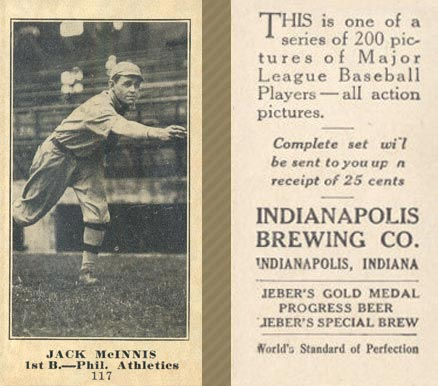 1916 Indianapolis Brewing Jack McInnis #117 Baseball Card