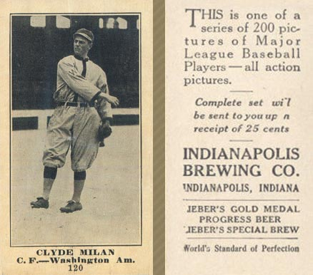 1916 Indianapolis Brewing Clyde Milan #120 Baseball Card