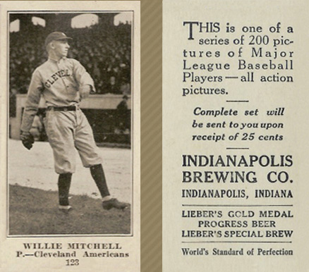 1916 Indianapolis Brewing Willie Mitchell #123 Baseball Card