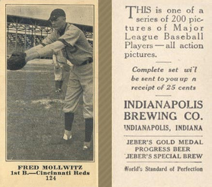1916 Indianapolis Brewing Fred Mollwitz #124 Baseball Card