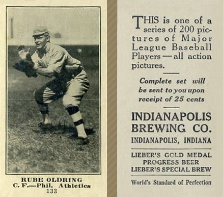 1916 Indianapolis Brewing Rube Oldring #133 Baseball Card