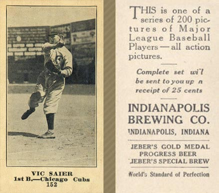 1916 Indianapolis Brewing Vic Saier #152 Baseball Card