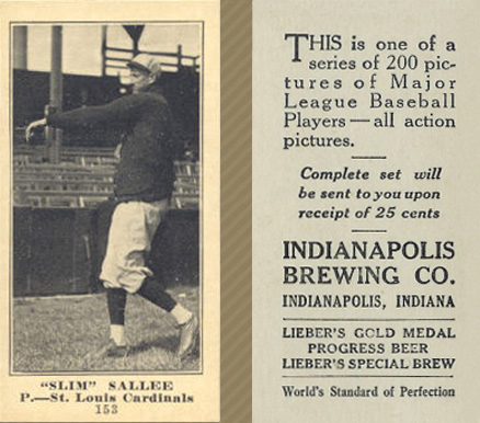 1916 Indianapolis Brewing Slim Sallee #153 Baseball Card