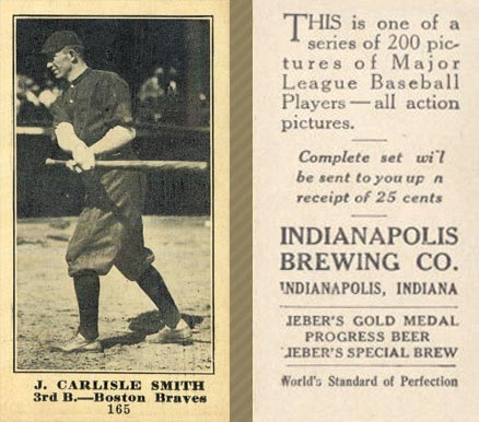 1916 Indianapolis Brewing J. Carlisle Smith #165 Baseball Card