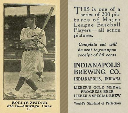 1916 Indianapolis Brewing Rollie Zeider #198 Baseball Card