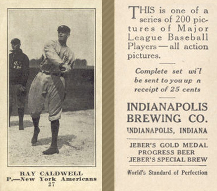 1916 Indianapolis Brewing Ray Caldwell #27 Baseball Card