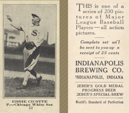 1916 Indianapolis Brewing Eddie Cicotte #32 Baseball Card