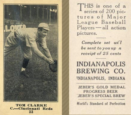 1916 Indianapolis Brewing Tom Clarke #33 Baseball Card