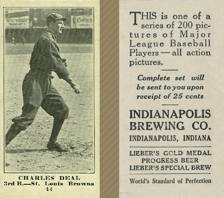 1916 Indianapolis Brewing Charles Deal #44 Baseball Card