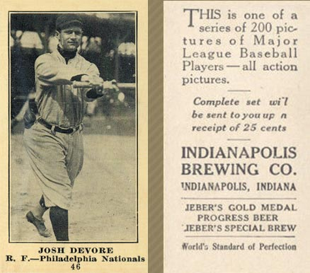 1916 Indianapolis Brewing Josh Devore #46 Baseball Card