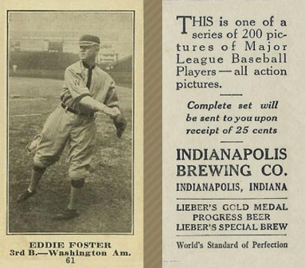 1916 Indianapolis Brewing Eddie Foster #61 Baseball Card