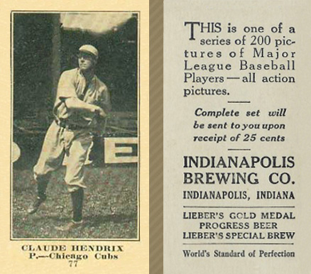 1916 Indianapolis Brewing Roy Hartzell #77 Baseball Card